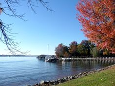Lake Norman waterfront with Fall colors