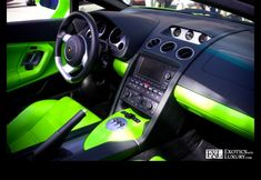 Color Scheme - Lime green & black car interior