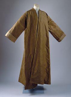 Banyan, ca. 1735  English  Brown figured silk faille