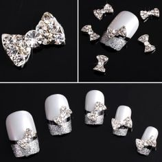 350buy 20x 3D Clear Alloy Rhinestones Bow Tie Nail Art DIY Decorations