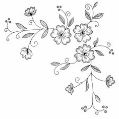 Border Embroidery Designs, Floral Embroidery Patterns, Hand Embroidery Stitches, Ribbon Embroidery, Machine Embroidery Designs, Floral Drawing, Wood Burning Patterns, Parchment Craft, Motif Floral