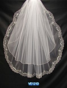 Fancy two tiers waist length long wedding veil
