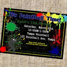 Paintball Invitation Paintball Invite Paintball by MerrimentPress, $5.95