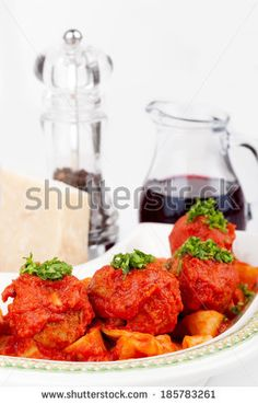 #Plate with #papardelle and #meatballs, #typical #Italian #dish.   #autumn / #winter #food #recipe #recipes #foodstyling #cuisine #cooking #culinary #gourmet #idea #ideas #royaltyfree #stockphotos via #Shutterstock