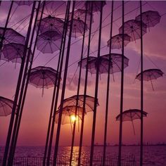 """Umbrellas"" city sculpture by Zoggolopoulos, Thessaloniki, Greece"