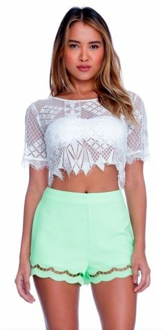 BohoPink - Lush Aztec Lace Off White Crop Top, $44.00 (http://www.bohopink.com/lush-aztec-lace-off-white-crop-top/)