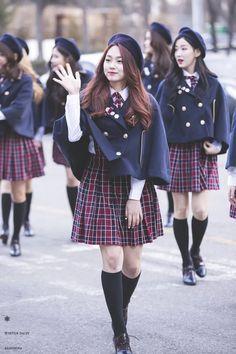 hey ladies Korean Uniform School, School Uniform Outfits, Cute School Uniforms, School Dresses, School Girl Outfit, Private School Uniforms, Japanese High School Uniform, Uniform Ideas, Girls School