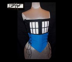 TARDIS -  Blue, Black, and White Corset - Custom - by LoriAnn Costume Designs.