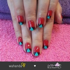 Geometric pattern nails by Kitsune   https://www.wahanda.com/place/kitsune-nails-at-camiui-hair-and-beauty-salon/