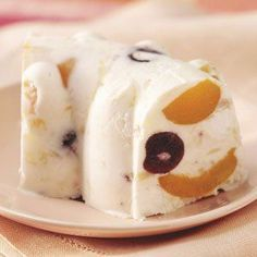 "Frosty Mallow Fruit Dessert Recipe -Says Patricia Swart of Bridgeton, New Jersey: ""This recipe came from my husband's relatives in Holland and has been a favorite for many years. It's fancy, frosty, as pretty as a picture…and goes together in just 10 minutes!"""
