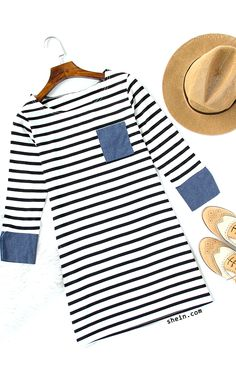 af8db806f73 Simple fall style-Contrast trim striped tee dress outifit. Tee Dress