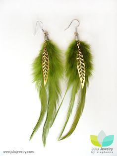 Green+Feather+Gold+Leaf+Earrings1.jpg 563×750 pixels