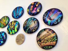 8 Round DICHROIC Mosaic Fused Glass PENDANT/CABOCHONS Tiles Drawer Knobs Pulls #Handmade #Pendant