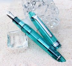 b1b40acd74c Stationary shop PenLife  I do every one of fountain pen aqua blue  charm-like color serene state of mind (メイキュウシスイ) causing one charr-limited  gold ...