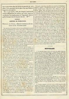 """""""Albums de romances: Hommage aux dames, album de romances et de nocturnes inédits. Neuvième année,"""" Gazette musicale de Paris, 4 January 1835."""