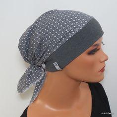 Einzigartige Kopftuch-Mütze mit einem Baumwollstirnband in grau  und am Hinterkopf mit einem tollen, weichen Jerseytuch in grau mit dezentem Muster    Einfach aufsetzen wie eine Mütze und...