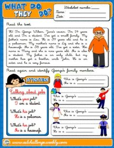 Jobs and Occupations - Worksheet 1 - Page 1 Reading and Comprehension