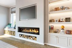 False Breast with Granite Inlays, Log Store and TV Recess Fireplace Feature Wall, Feature Wall Living Room, Living Room Decor Fireplace, Fireplace Tv Wall, Fireplace Built Ins, Living Room Tv, Living Room Remodel, Fireplace Design, Tv Feature Wall