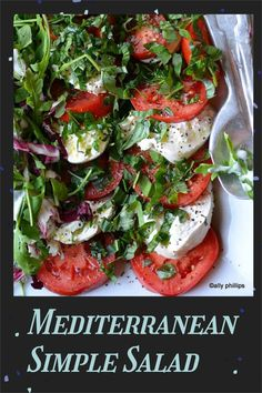 Mediterranean simple salad is full of healthy veggies with a homemade dressing that comes together in just a minute! #mediterraneansalad #easysalad Good Healthy Recipes, Easy Recipes, Dinner Recipes, Different Salads, Homemade Dressing, Easy Salads, Kitchen Recipes, Quick Easy Meals, Good Food