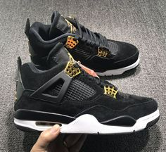 online retailer 1ba48 a9bab Nike Air Jordan IV 4 Royalty Men Shoes Black Gold AAA,Price  85