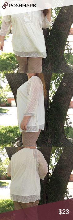 "White tunic w/ lace Beautiful white plus size blouse. Can be a dress on smaller person. Multi size. Oversized fit. Size 30/32. Length is 33"". White lining underneath. Polyester. Great condition. Avenue Tops Tunics"