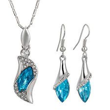 Marquise Cut Aquamarine Crstal Earrings Pendant Necklace