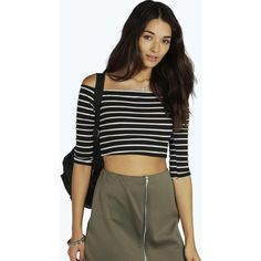 Boohoo Andrea Striped Off The Shoulder Rib Crop Top ($9) ❤ liked on Polyvore featuring tops, black, off-shoulder crop tops, bralette crop top, off the shoulder crop top, jersey crop top and striped off-shoulder tops