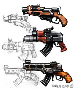 weapon by SkeeNLangly on deviantART Sci Fi Weapons, Weapon Concept Art, Fantasy Weapons, Weapons Guns, Guns And Ammo, Fallout, Badass Drawings, Future Weapons, Gun Art