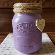 Another Purple Kilner Jar for a special friend. Kilner Jars, Mason Jars, Jar Crafts, Wedding Centerpieces, How To Look Pretty, Shabby Chic, Make It Yourself, Craft Ideas, Purple