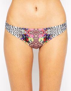 Bikini briefs by Minkpink Stretch, swim fabric Low-cut, hipster rise Mixed print design Flattering, full brief back Hand wash 83% Polyester, 17% Elastane