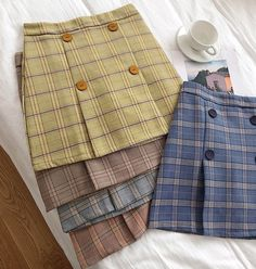A-Line Button Plaid Skirt *****Size***** Small Waist: 64 cm Length: Hips: 82 cm Medium Waist: 68 cm Length: Hips: 84 cm Large: Waist: 72 cm Length: Hips: 86 cm Please allow business days to process the order - Online Store Powered by Storenvy Women's Mini Skirts, Plaid Skirts, Teen Fashion Outfits, Fashion Sewing, Kawaii Fashion, Cute Casual Outfits, Kind Mode, Skirt Outfits, Skirt Fashion