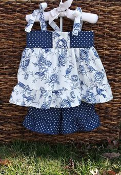 NAVY SHORT SET cotton baby toddler polka dot by SimpleKindAndGood