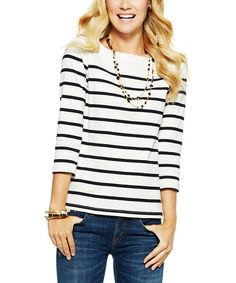 Maintain a flawlessly fashionable look with this essential top. Boasting a flattering, semi-fitted design with classic stripes and stylish studded accents, it's sure to become a front-of-the-closet favorite.