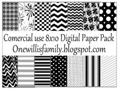 The Willis Family: Black and white digital paper pack
