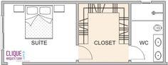 Closet: Aspectos Construtivos - Clique Arquitetura Adorei o banheiro depois do closet, dessa forma fica muito melhor para após o banho ter privacidade para se arrumar☺️                                                                                                                                                      Mais