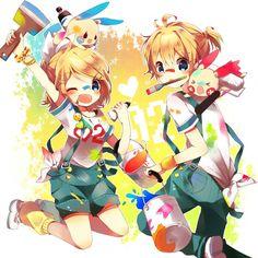☆ Girl... Boy... Blonde Hair... Blue Eyes... Pokémon... Paint... Vocaloid... Kagamine Len... Kagamine Rin... Anime ☆
