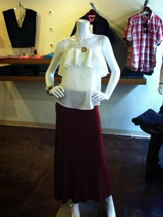 Love this outfit to pieces!! Strapless ruffle top, with our maroon maxi skirt! Perfect for College of Charleston, or Gamecock games! Find them both at House of Sage, in Charleston SC! #gamedaylook #charleston #shophouseofsage www.houseofsage.com www.facebook.com/shophouseofsage