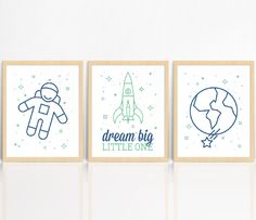 Dream Big Little One | SET OF 3 Prints | Rocket Ship | Nursery Decor | Children's Room Print by AngelaMaroskeDesign on Etsy https://www.etsy.com/au/listing/484356409/dream-big-little-one-set-of-3-prints