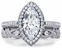 Halo Bridal Set: Solitaire Marquise Diamond Engagement Ring+Band