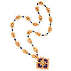 VAN CLEEF & ARPELS A Coral, Lapis Lazuli and Diamond Sautoir - FD