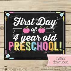 Girl First Day of 4 year old Preschool Sign by stockberrystudio School Grades, 1st Day Of School, Wishes For Baby Cards, Chalkboard Poster, Preschool Graduation, School Signs, 4 Year Olds, Party Items, Digital Stamps