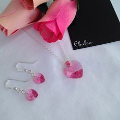 This pretty pink hearts jewellery set would make a perfect Mothers Day gift!. Fabulous pink crystal heart necklace and earrings set. Made with Rose