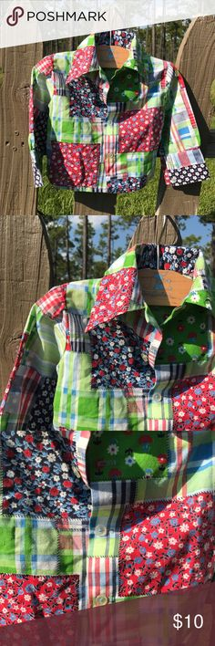 Vintage Patchwork Children's Button Down Shirt Patchwork button down shirt with collar, size 2T Baby Togs Shirts & Tops Button Down Shirts