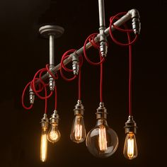 Vintage Galvanised Plumbing Pipe Chandelier Pendant. This light fitting can be used to light up a table or bar or just as a ceiling light feature.