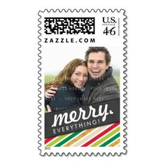 PERSONALIZED PHOTO HOLIDAY POSTAGE trendy & fun colorful stripes in traditional christmas colours - red, green and gold... Have yourself a trendy little christmas this year with these DIY templates available for purchase - you customize them yourself!!!