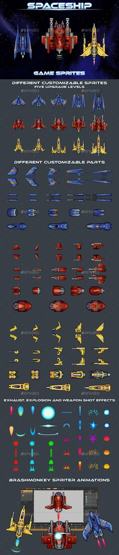 Buy Spaceship Sprites by craftpix_net on GraphicRiver. We publish a set of Spaceship Game Sprites. It includes 3 space fighters. Star Citizen, Game Design, Pixel Art, Android Animation, Blue Jurassic World, Free Game Assets, Top Down Game, Space Fighter, 2d Game Art