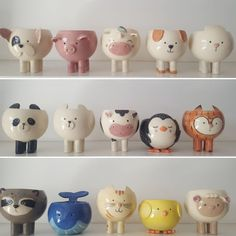 Make wonderful pots, with polymer clay and different materials . Pottery Animals, Ceramic Animals, Clay Animals, Diy Clay, Clay Crafts, Diy And Crafts, Ceramic Pots, Ceramic Clay, Slab Pottery