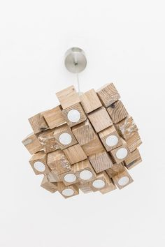 LED Wood Chandelier - LED lamp - wood lamp - modern home decoration - unique design - lighting - modern wood lamp, wooden cubes