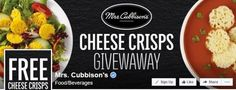 Mrs. Cubbison's Cheese Crisps Giveaway at 12 p.m. Pacific Time Each Day via Facebook