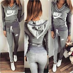 Stylish ladies gray and white #tracksuit. #Hoodie and #pants set.